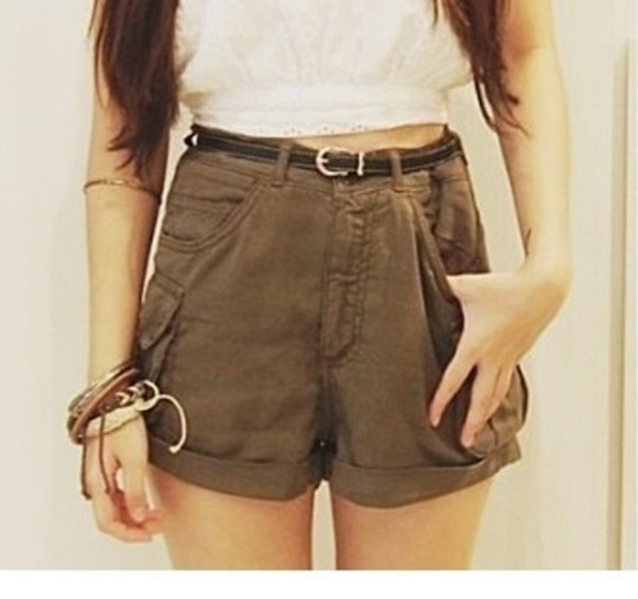 green shorts army belt pocket pants high waisted pants high waisted shorts dark green shirt