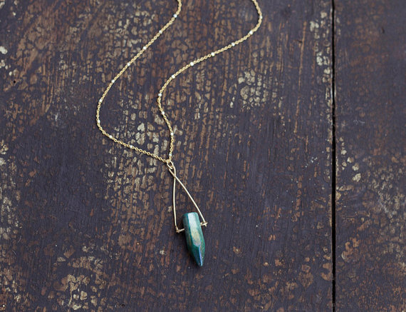 Crystal Point Necklace, Delicate Layering Necklace, Boho Jewelry, Beaded Chain Necklace, 14k Gold Filled Necklace