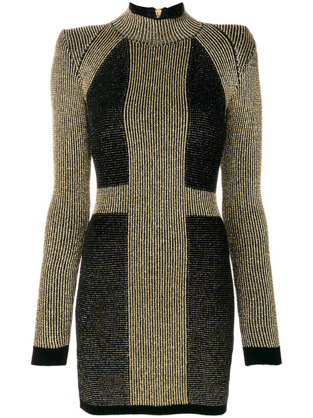 Balmain dress mini dress mini women knit grey metallic