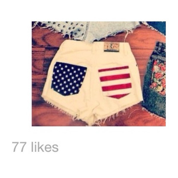 shorts summer jeans denim red white blue flag american High waisted shorts