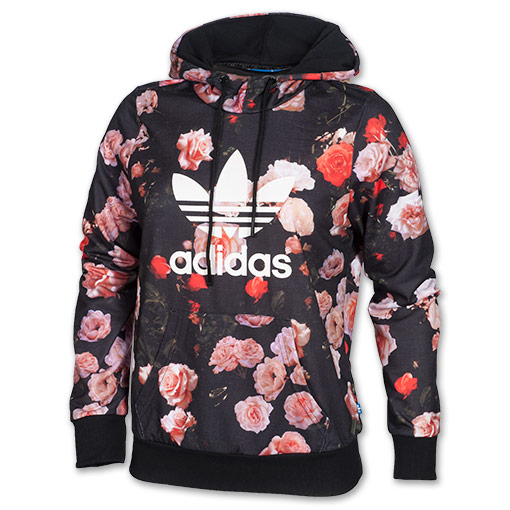 Women's adidas Trefoil Allover Floral Hoodie | FinishLine.com | Black Floral