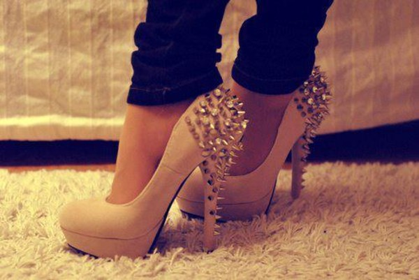 spikes spiked shoes platform pumps party shoes shoes heels beige gold tumblr cute high heels
