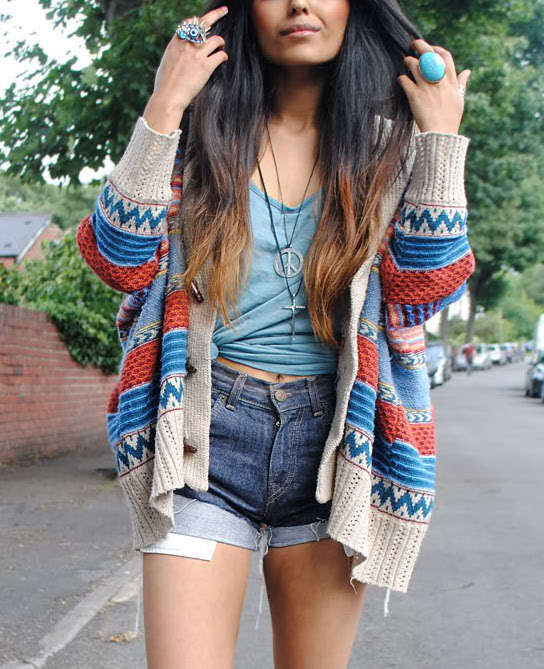 Blue burgundy taupe aztec print knit loose slouchy tribal cardigan sweater