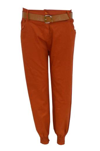 Zesiro Cuffed Chino Trouser in Rust - Pop Couture