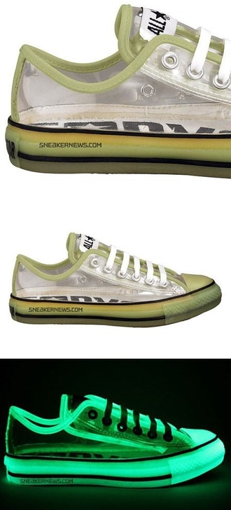 shoes dope style converse glow in the dark transparent sneakers