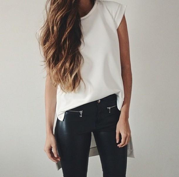 t-shirt leder style pants leggings