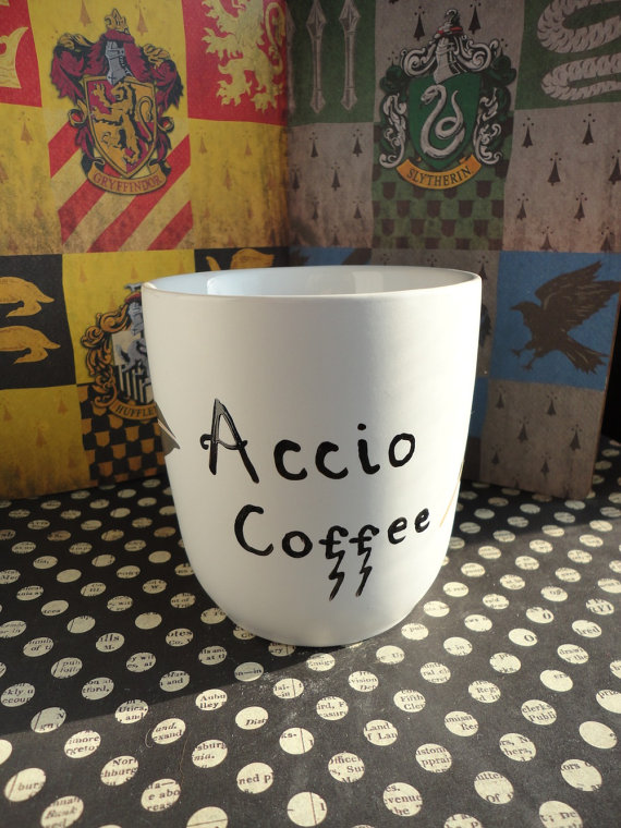 Accio coffee harry potter feather mug  add the grim by authorish