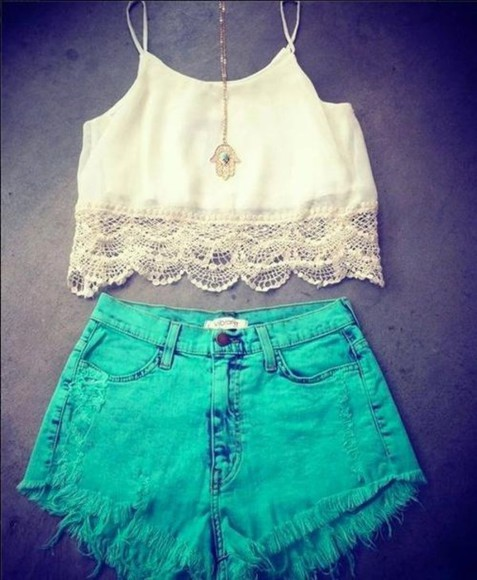 green short shorts bright t-shirt shorts crop tops shirt bright shorts white crop top lace bright blue coloured