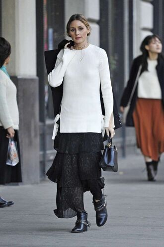 sweater skirt midi skirt olivia palermo streetstyle blogger fall outfits fall sweater ankle boots jewels necklace choker necklace white sweater flowy black skirt buckle ankle boots