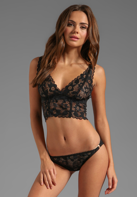 LONELY Hearts Full Lace Cup Longline Bra in Black at Revolve Clothing - Free Shipping!