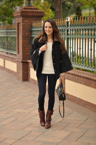 hapa time blogger cape brown leather boots fuzzy sweater handbag sweater bag shoes