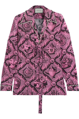 blouse pearl embellished silk pink top