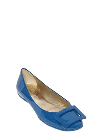 flats leather blue shoes