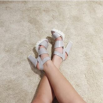 shoes chunky heels grey white heels platform shoes sandal heels winter shoe online store tumblr tumblr clothes leather