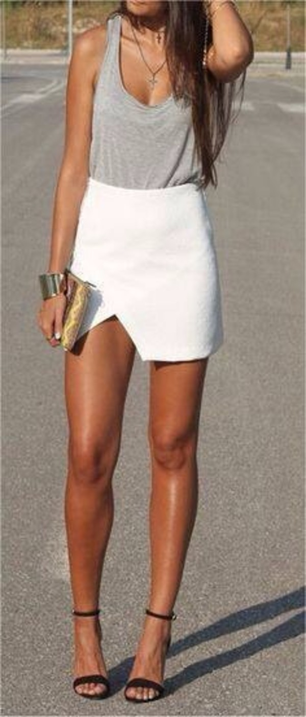 skirt shirt white summer white skirt summer skirt asymmetrical grey tank top scoop slit skirt summer outfits white skirt high wasted. outfit white asymmetric skirt