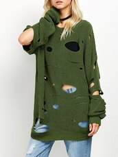 sweater,green,fashion,style,trendy,long sleeves,distressed sweater,ripped,knit,knitwear,knitted sweater,fall outfits,fall sweater,zaful