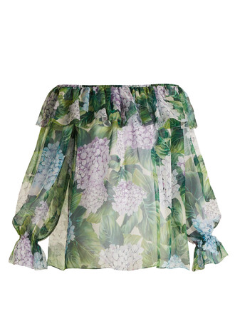 top chiffon print silk green