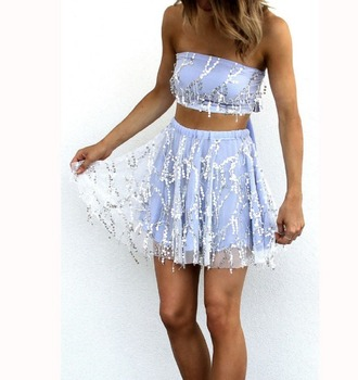 dress girl girly girly wishlist tube top crop crop tops cropped sequins blue skirt cute sequin dress two piece dress set two-piece