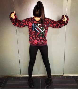 sweater sweatshirt pants leigh-anne pinnock little mix instagram fall outfits jeans