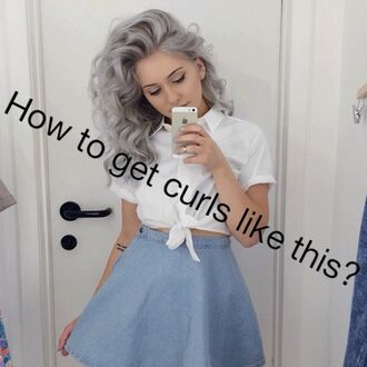 curly hair hair short hair wavy hair white top skirt blue skirt denim skirt hairstyles