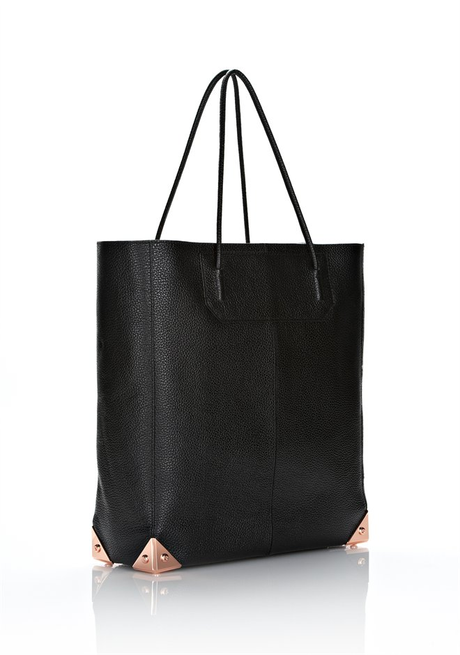 Black Prisma Tote In Pebbled Black With Rose Gold - Alexander Wang