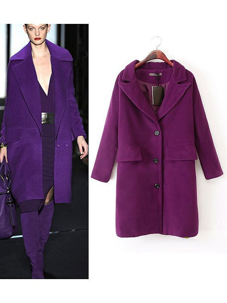 Coat: purple coat, purple, wool coat, runway - Wheretoget