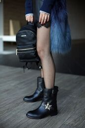 bag,tumblr,backpack,mini backpack,black backpack,boots,black boots,flat boots,tights,mesh,net,net tights,studded shoes,fur coat,slip dress,lace dress,soft grunge,black leather backpack,fishnet tights