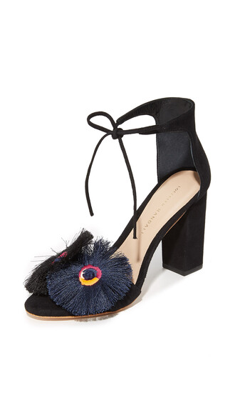 sandals floral black shoes
