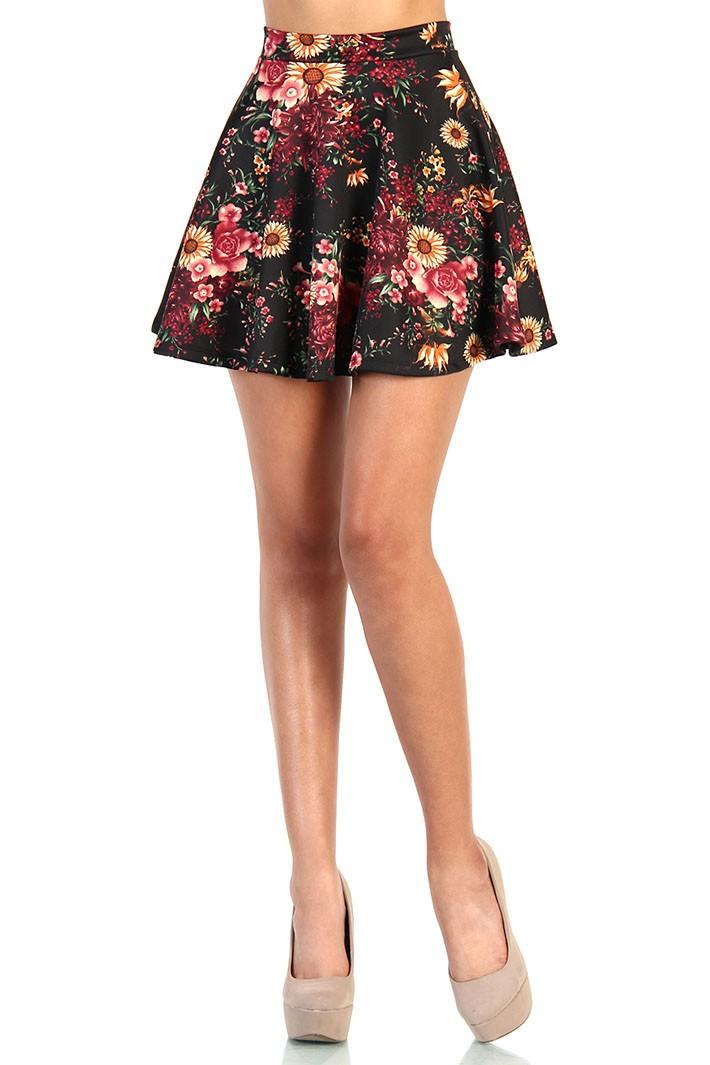 Floral Garden Skater Skirt - Black