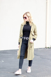 kim tuttle,the knotted chain - a style blog by kim tuttle,blogger,jacket,top,pants,shoes,belt,bag,double buckle belt,black belt,turtleneck,black top,long sleeves,trench coat,camel coat,black jeans,black ripped jeans,ripped jeans,sneakers,fall outfits,aviator sunglasses,black turtleneck top,green long coat