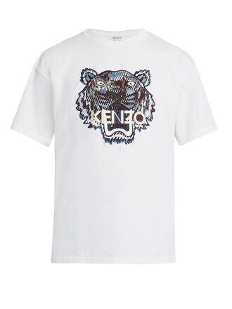 t-shirt shirt cotton t-shirt embroidered tiger cotton top
