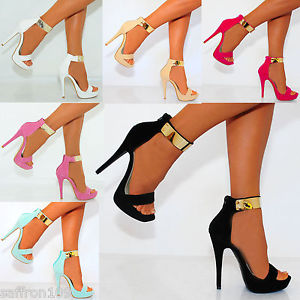 GOLD METAL ANKLE CUFF STRAP STRAPPY SANDALS PEEP TOES STILETTO HIGH HEELS SHOES | eBay