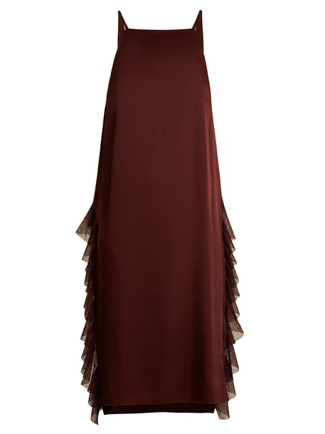 Elizabeth and James dress satin dress ruffle satin burgundy