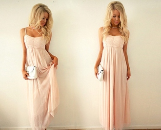 dress pink blonde hair girl maxi long chiffon prom dress pretty light pink light pink dress maxi dress clutch hair accessory blouse light pink prom dress