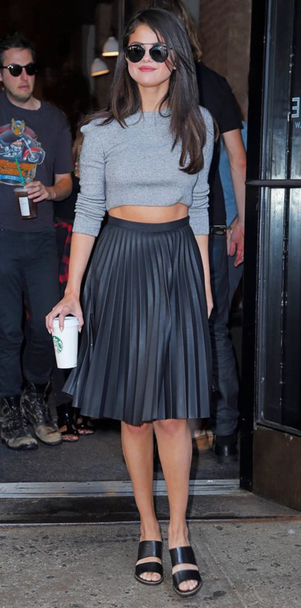 shoes black mules black leather skirt pleated leather skirt mules double strap mules selena gomez leather skirt black pleated skirt pleated skirt crop tops grey crop top black sunglasses round sunglasses topshop skirt