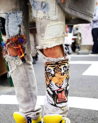 jeans ripped cut cool girly summer spring pants tumblr fashion style swag tiger orange yellow purple tan black white blue sexy red pink street ripped jeans badass instagram tumblr clothes lion pockets streetstyle blogger summer outfits outerwear animal print animal