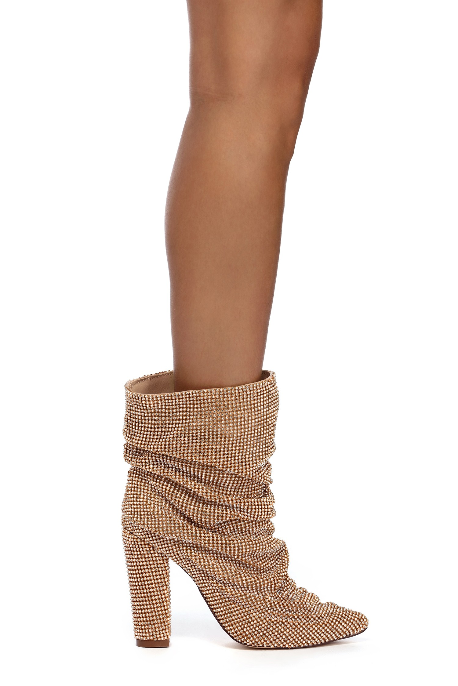 Gold Rhinestone Making Moves Booties