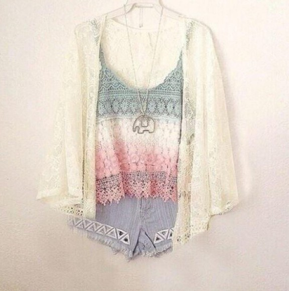 pastel cute shorts top summer outfits summer top boho hipster clothes colorful girly cardigan jewels elephant