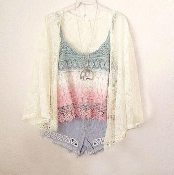 top summer outfits summer top boho hipster shorts clothes colorful cute girly cardigan jewels elephant pastel white