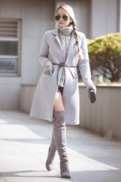 my blonde gal,blogger,shoes,coat,bag,sweater,sunglasses,shorts,grey cable knit sweater,cable knit,turtleneck,turtleneck sweater,aviator sunglasses,grey coat,gloves,grey sweater,over the knee boots,grey boots,thigh high boots,knitted gloves