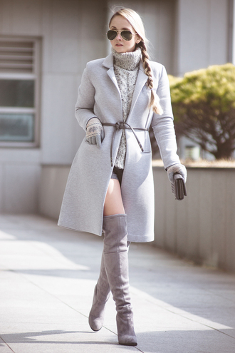 my blonde gal blogger shoes coat bag sweater sunglasses shorts grey cable knit sweater cable knit turtleneck turtleneck sweater aviator sunglasses grey coat gloves grey sweater over the knee boots grey boots thigh high boots knitted gloves