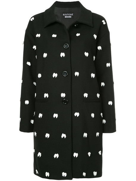 BOUTIQUE MOSCHINO coat bow women embellished black wool