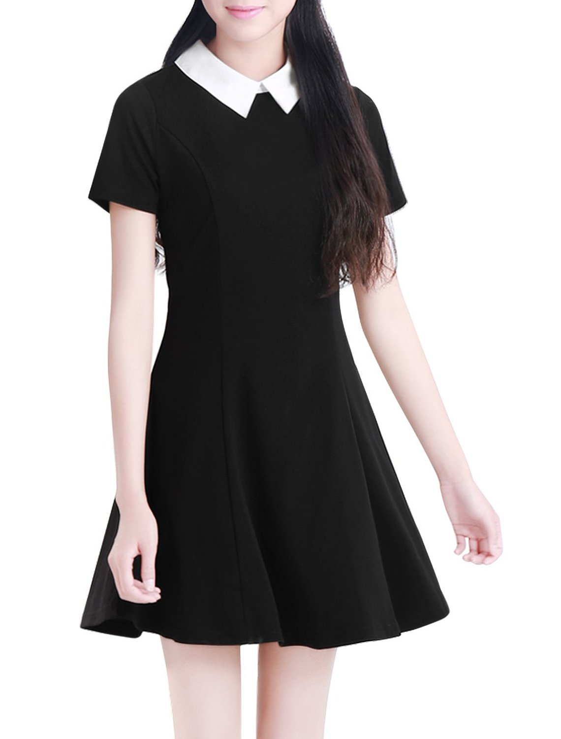 sports shoes 98df6 e067c Amazon.com: Allegra K Women Contrast Doll Collar Short Sleeves Above Knee  Flare Dress: Clothing