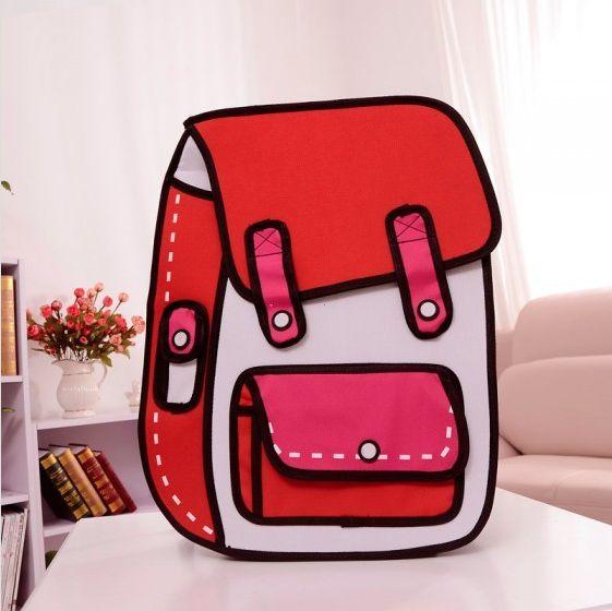 New men/women backpack 3d cartoon school bag red (top 20 item)