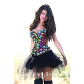 dress,selena gomez,prom dress,sequins,rainbow,black dress