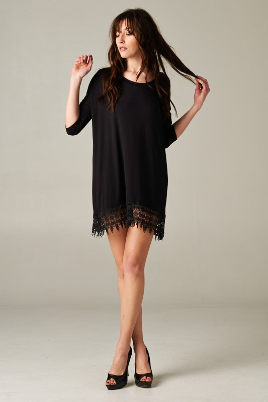 Black tunic with lace trim – betsy boo's boutique