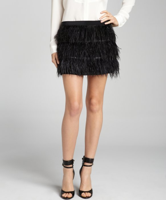 black silk and ostrich feather mini skirt | BLUEFLY up to 70% off ...