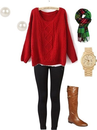 sweater red green gold white black brown leather boots leggings pearl earrings watch scarf