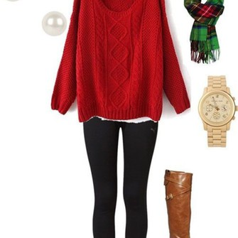 scarf earrings sweater black gold red white green leggings watch brown leather boots pearl scarf red