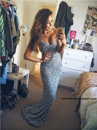 silver dress glitter dress elegant dress long dress long prom dress homecoming